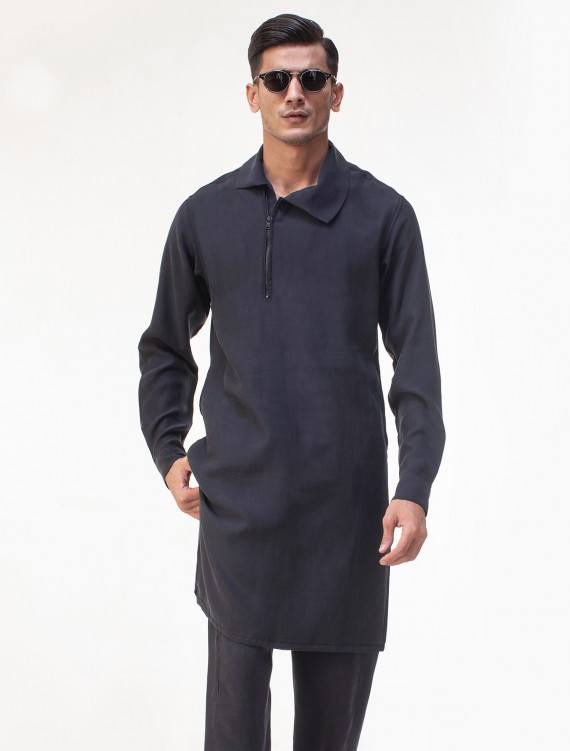 CHARCOAL GRAY FALL COLLAR KURTA PAJAMA