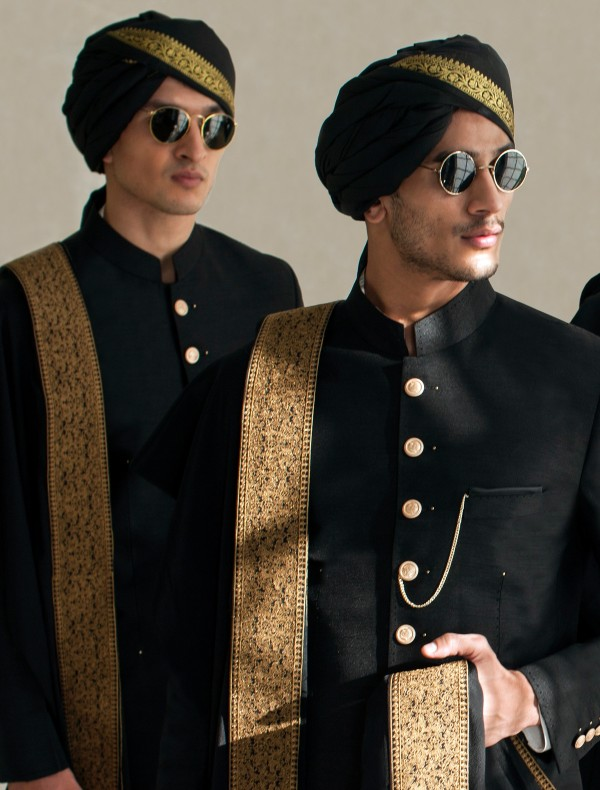 BLACK TURBAN WITH GOLDEN BOARDER AND SHORT TAIL