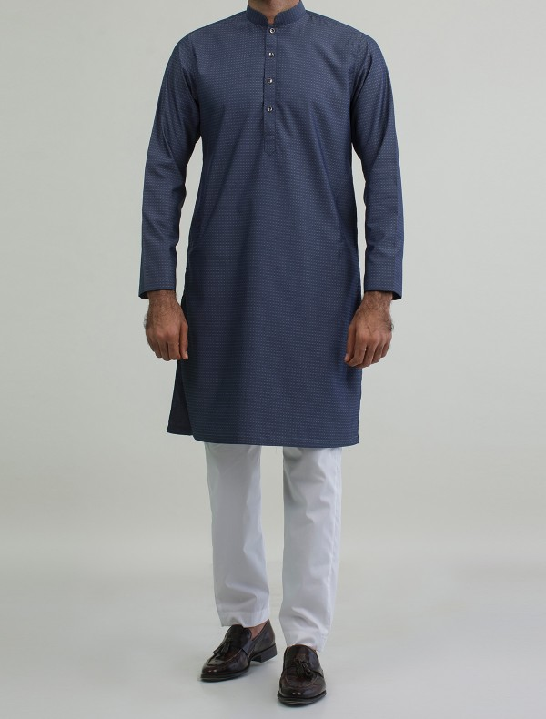 DENIM BLUE -DOBBY KURTA