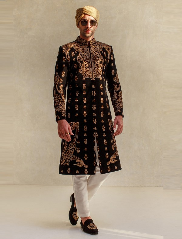 BLACK INTRICATE EMBROIDERY SHERWANI