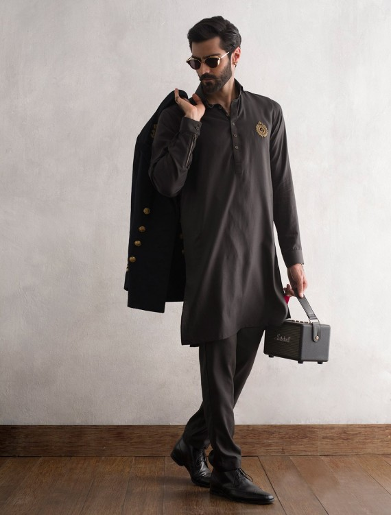 BLACK LOGO KURTA WITH PANT PAJAMA