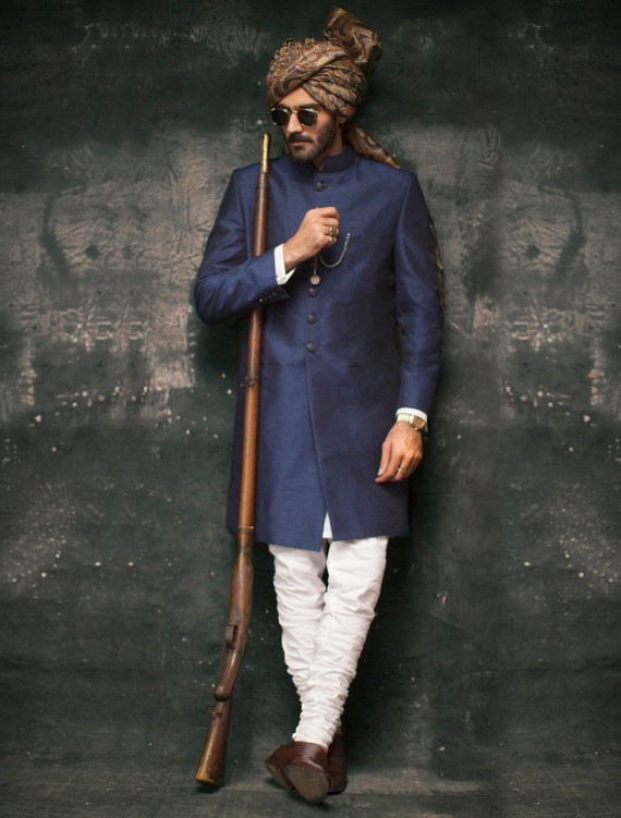 ROYAL BLUE RAW SILK SHERWANI