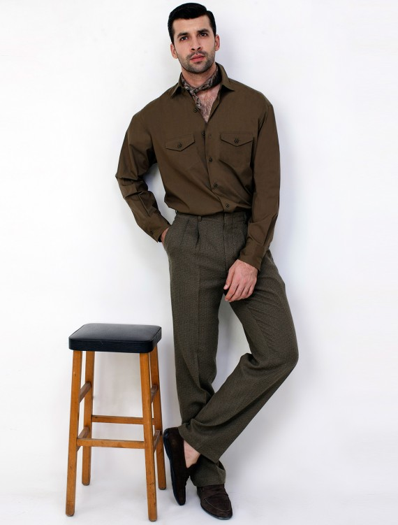 BROWN TWO POCKETS SHIRT
