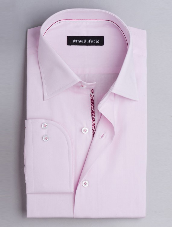 PINK DRESS SHIRT-FLORAL DETAILED
