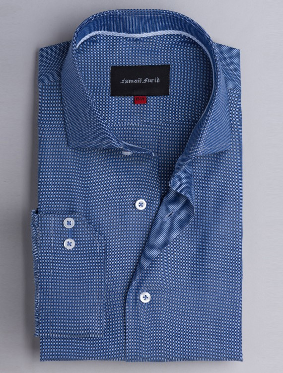 CLASSIC BLUE TEXTURED WEAVED SHIRT