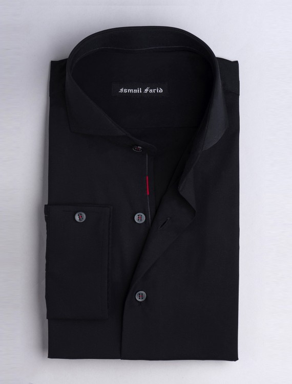 PREMIUM BLACK-SPREAD COLLAR SHIRT