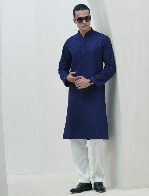 ROYAL BLUE COTTON SILK EMBROIDERED KURTA
