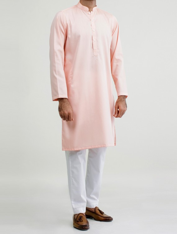 CLASSIC PEACH -COTTON STRUCTURED KURTA