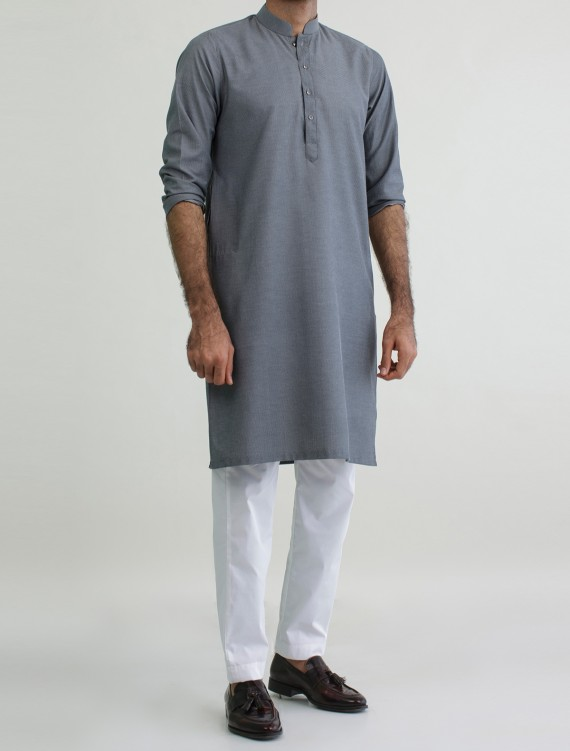 GREY - COTTON STRUCTED KURTA