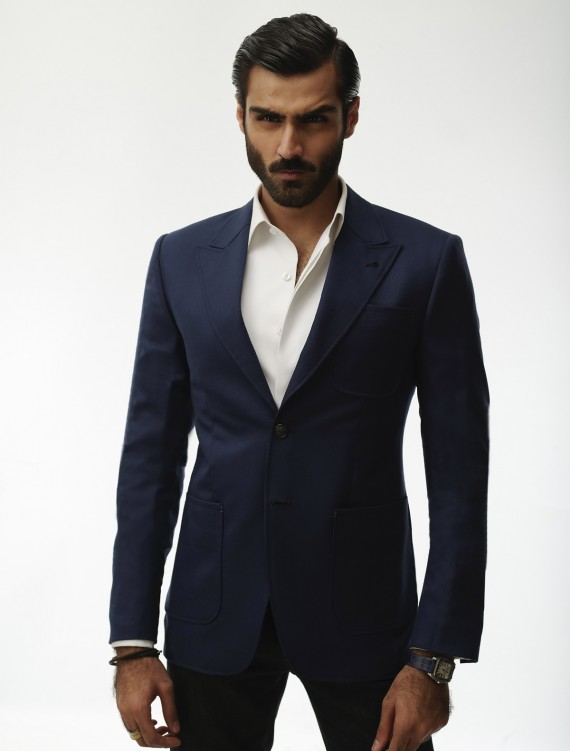 BLUE JACKET WITH  TWO BUTTONS POINTED LAPEL PATCH POCKET