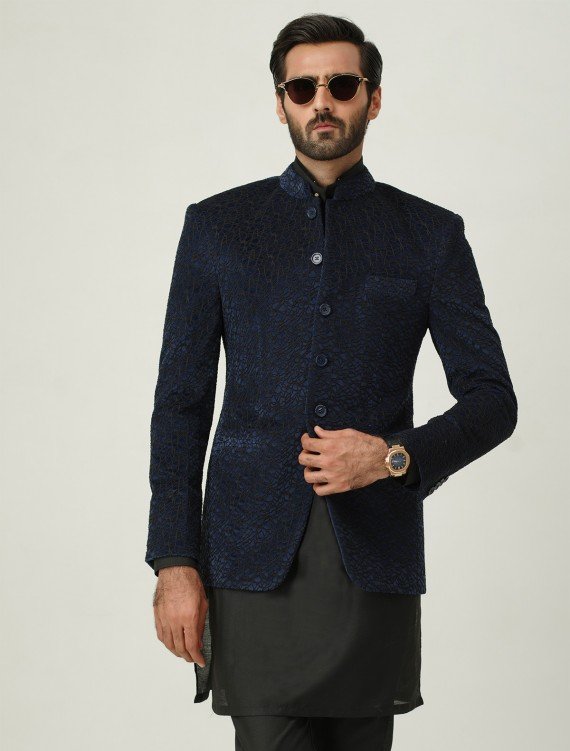 VELVET ABSTRACT EMBROIDERED PRINCE COAT - LIMITED EDITION