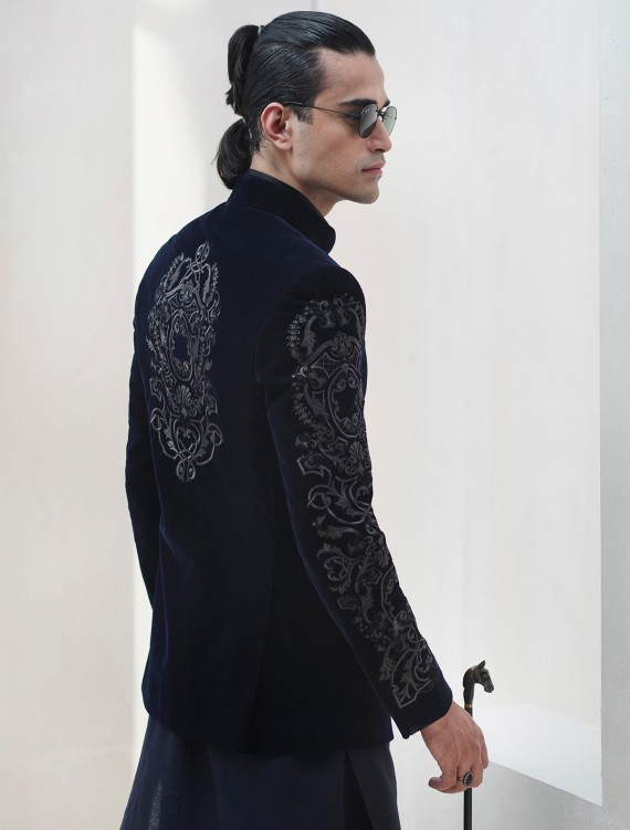 NAVY BLUE VELVET PRINCE COAT WITH INTRICATE EMBROIDERY