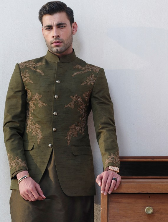 GREEN RAWSILK PRINCE COAT WITH  HAND EMBROIDEREY ON FRONT BACK & SLEEVES