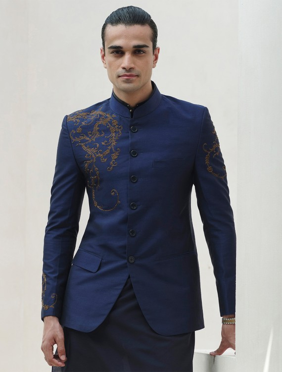 BLUE RAWSILK HAND EMBROIDERED PRINCE COAT