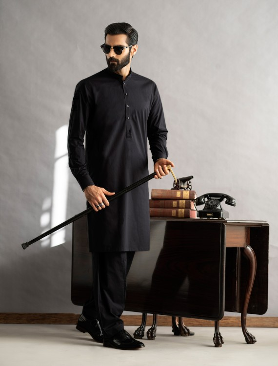 BLACK VELVET APPLIQUE KAMEEZ SHALWAR