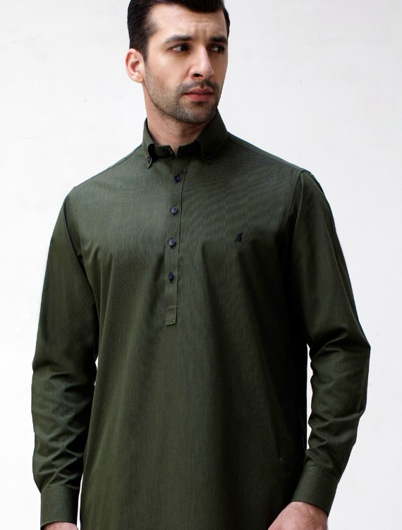 GREEN BUTTON DOWN KAMEEZ SHALWAR