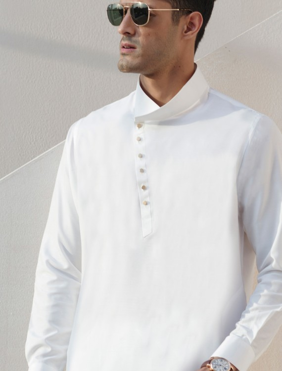 WHITE CROSS FRONT KAMEEZ SHALWAR