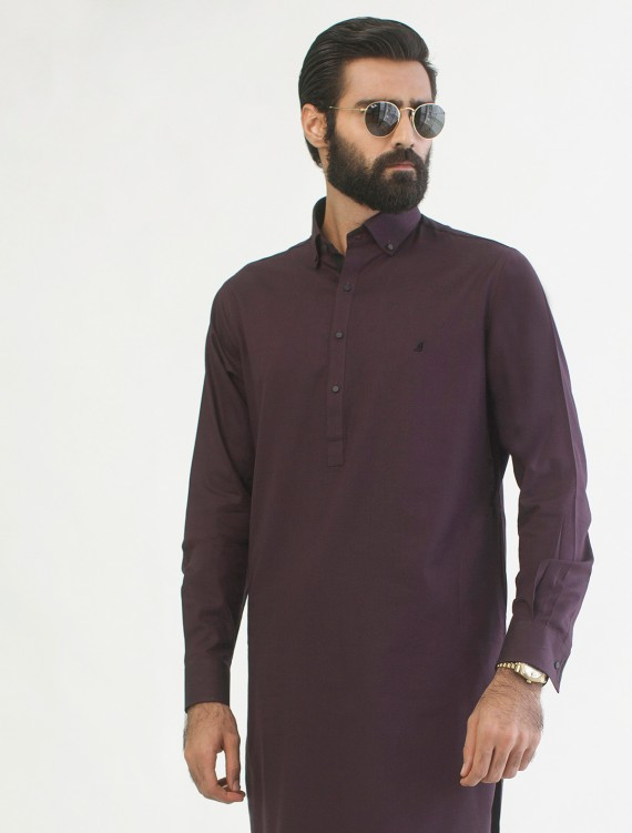 DEEP MAROON BUTTON DOWN KAMEEZ SHALWAR