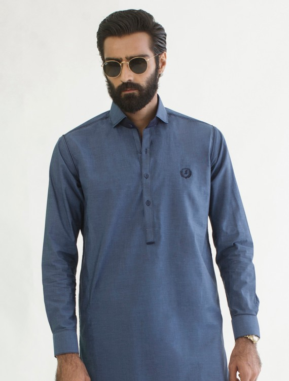 BLUE 100% COTTON LIGHT WEIGHT - LOGO EMBROIDERED KAMEEZ SHALWAR