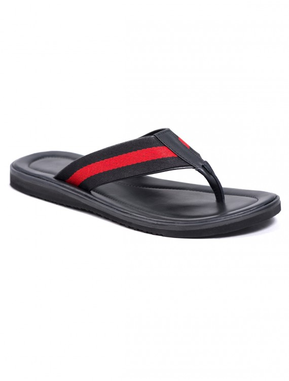 BLACK AND RED STRIPE SLIP ON