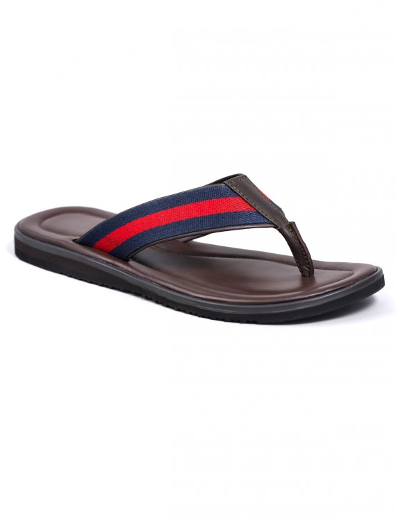 BROWN SLIP ON WITH BLUE AND RED STRIPE