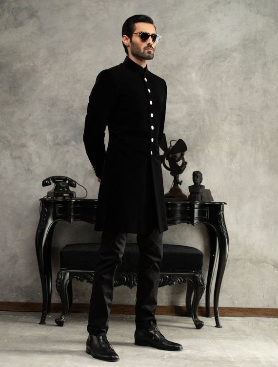 MATT BLACK SHORT LENGTH VELVET SHERWANI
