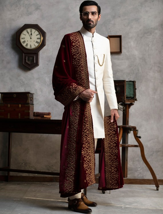 OFF WHITE SHORT LENGTH RAW SILK SHERWANI