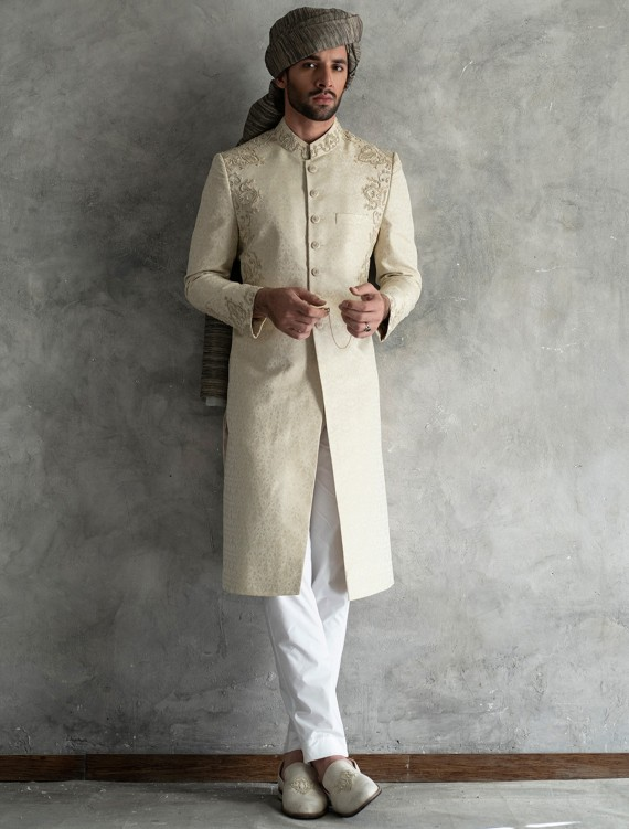 LIGHT BEIGE JAMAWAR SHERWANI