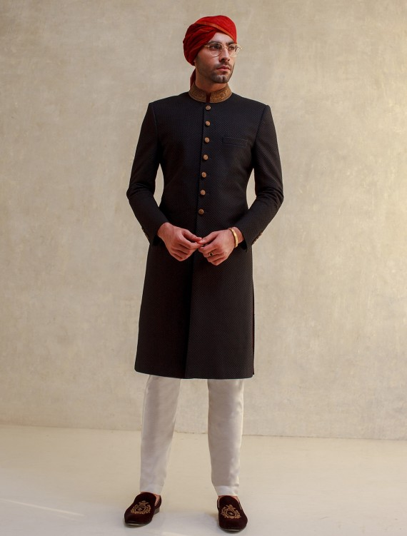 BLACK EMBROIDERED NET ON FABRIC WITH BLUE AND BLACK TWO TONE SHERWANI