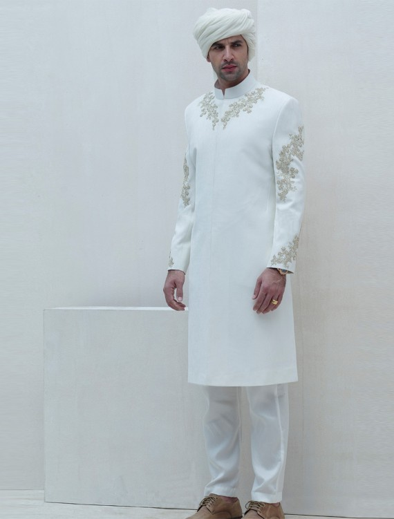 OFFWHITE SHERWANI WITH INTRICRATE EMBROIDERY ON FRONT SLEEVES AND BACK