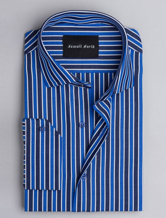 BLUE MULTI STRIPED – CUT COLLAR SHIRT