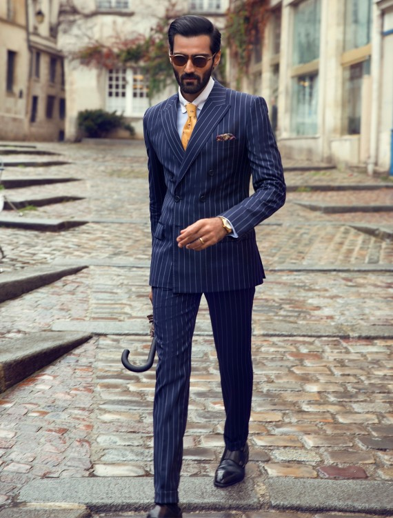 BLUE CLASSIC DOUBLE BREASTED TWO PIECE SUIT