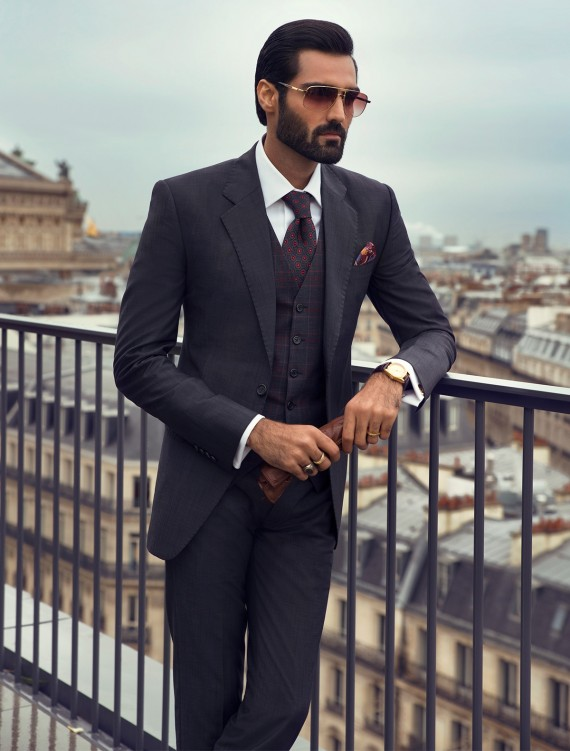 CLASSIC GRAY TWO BUTTON TEXTURED FABRIC SUIT