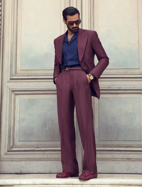 CLASSIC MAROON TWO PIECE OVER SIZE SUIT