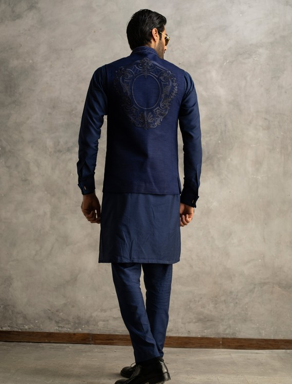 ROYAL BLUE RAW SILK EMBROIDERED WAISTCOAT