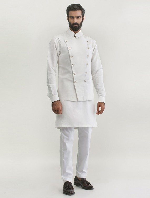 WHITE DOUBLE BREASTED MILITARY STYLE LINEN WAISTCOAT