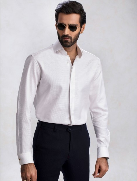 WHITE PREMIUM EGYPTIAN COTTON FABRIC SHIRT