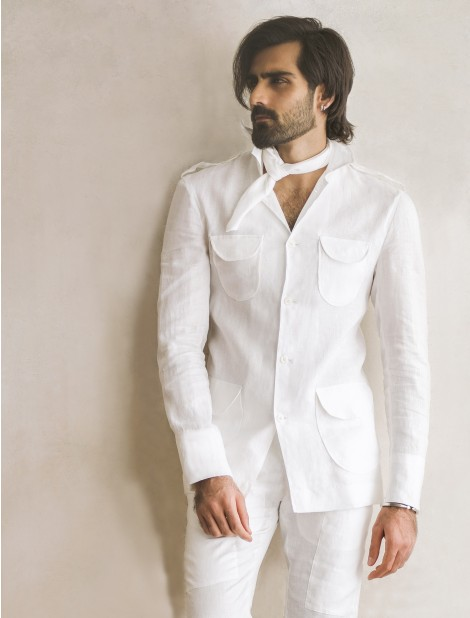 WHITE FOUR POCKET LINEN SHIRT