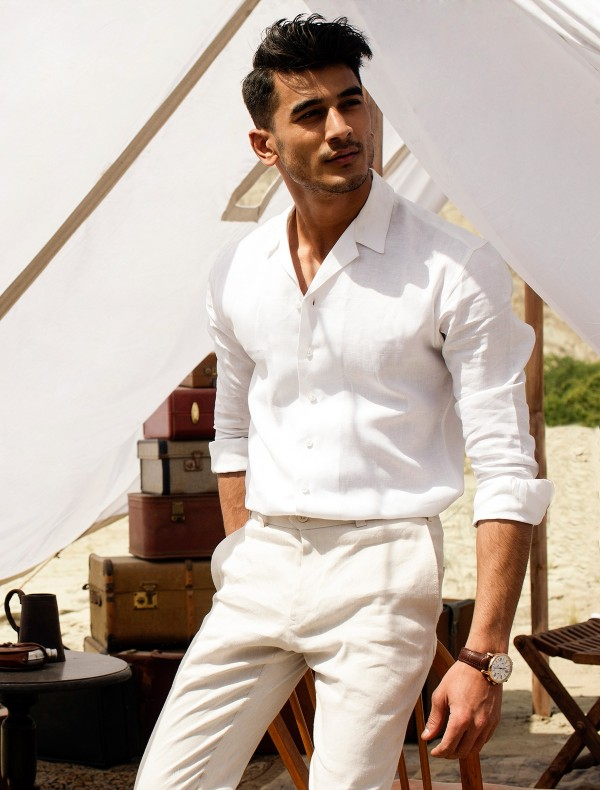WHITE LINEN SPREAD COLLAR SHIRT
