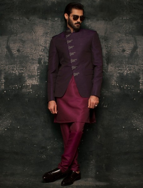 DEEP PURPLE RAWSILK, CROSS FRONT PRINCE COAT