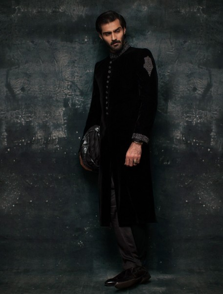 BLACK VELVET EMBROIDERED SHERWANI