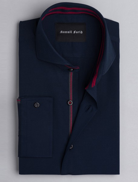 NAVY SPREAD COLLAR- THREAD DETAILED SHIRT