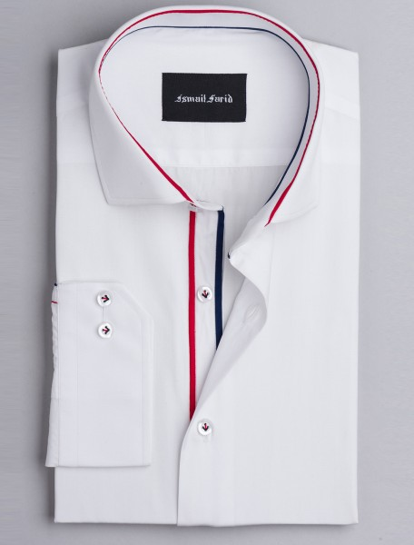 CLASSIC WHITE SHIRT WITH PIPING DETAILS