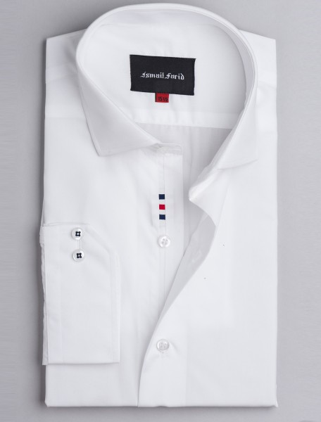 WHITE CUT COLLAR - CUBE DETAILED SHIRT