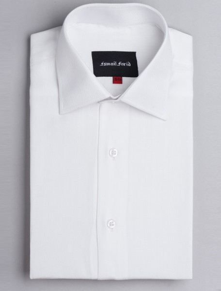 WHITE HERRINGBONE CLASSIC COLLAR SHIRT