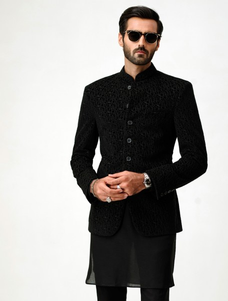 BLACK VELVET ABSTRACT EMBROIDERED PRINCE COAT - LIMITED EDITION