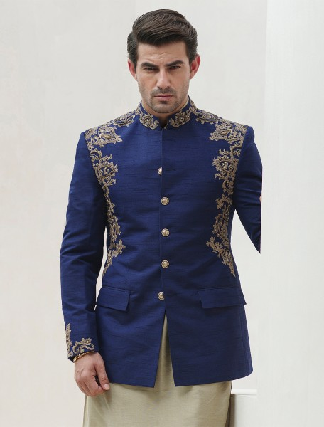 ROYAL BLUE HAND EMBROIDERED RAWSILK PRINCE COAT