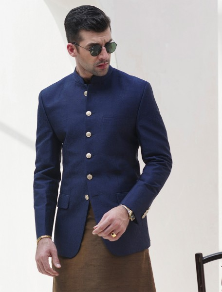 BLUE JACQUARD PRINCE COAT
