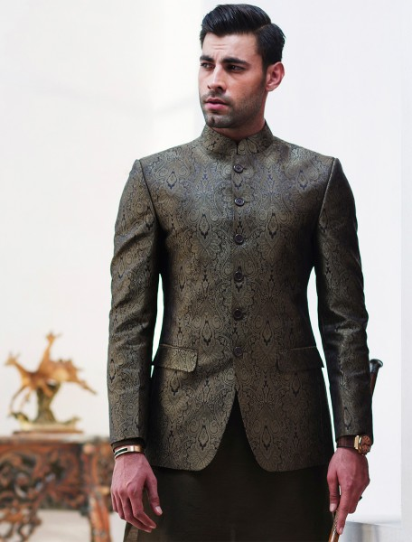GREEN JAMAWAR PRINCE COAT