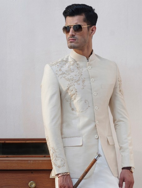 IVORY RAWSILK HAND EMBROIDERED PRINCE COAT